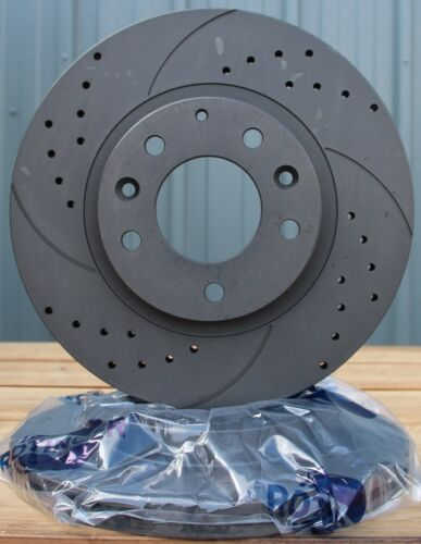 Fits A4 A5 A6 A7 Q5 Macan 2007 Drilled /& Grooved Brake Discs Rear Vented 330mm