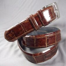 "Genuine Brown Alligator-Crocodile skin Waist 35-36 Belt Size 37-38  x 1.25"" wide"