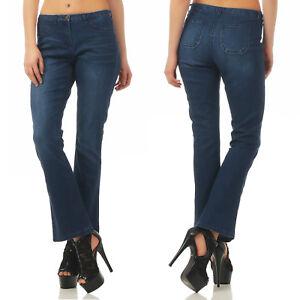 Details zu Vivance Jeans 268 074 Bootcut Schlaghose Jeans Hose Damen Blau Used Stretch Blue