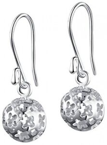 SILVERAGE 925 Sterling Silver Hollow Filigree Ball Drop Earring Round Dangle Earrings For Women sbSfO