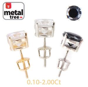 Men-039-s-Women-039-s-925-Sterling-Silver-Lab-Diamond-Round-Cut-Screw-Back-Stud-Earrings