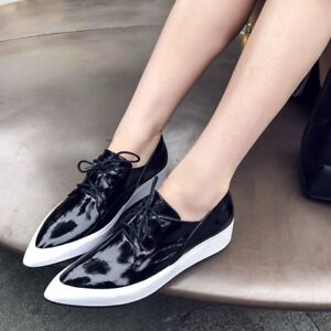 women fashion lace up pointy toe shoes flat low platform