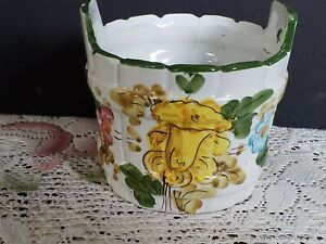 """Vintage FTD Ceramic Planter Flowerpot Hand Painted in Italy 4"""" Bucket"""