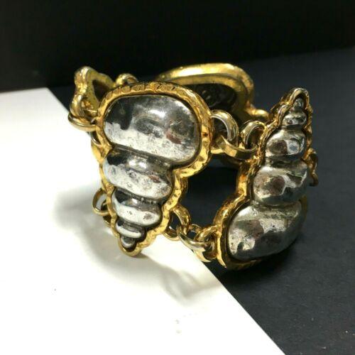 golden alloy BRACELET cuff VINTAGE Edouard Rambaud Paris signed