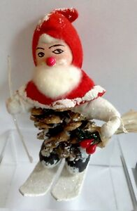 Vintage-Pinecone-Santa-Claus-Skiing-Elf-Mica-Tinsel-Cotton-Felt-5-5-034-Christmas