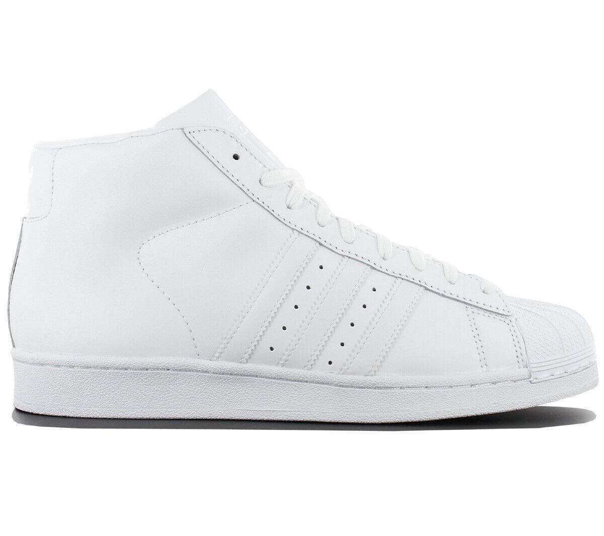 Adidas Superstar pro Model Uomo Trainers Pelle White mid Shoe  AQ5217