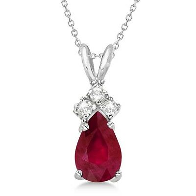 20161002. Pear Ruby and Diamond Solitaire Pendant Necklace 14k White Gold ... Lot 20161002