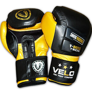 VELO Leather MMA Boxing Gloves Training Sparring Punch Bag MuayThai Kickboxing