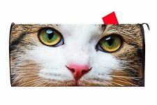 Cat Face Closeup Magnetic Vinyl Mailbox Cover  Made in the USA