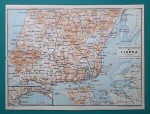 PORTUGAL Environs of Lisboa Lisbon & Cascais - 1911 MAP | eBay on
