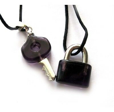 Pair Of Man-Made Quartz Crystal Alloy Metal Lock Key Pendant Sweethearts Jewelry