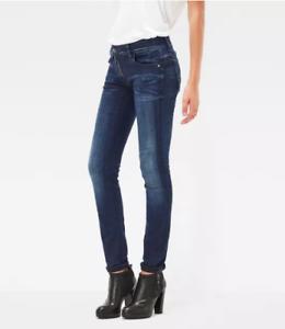 d043cff376b G-star Raw lynn zip mid skinny women's jeans w 32 l 34 dark aged   eBay