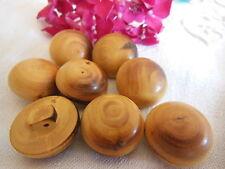 lot 6 boutons en bois verni vintage demi sphere pied  2,1 cm ref 2192