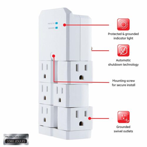 GE Pro 6-Outlet Swivel Wall Tap Surge Protector Power Adapter Multi plug Rotate