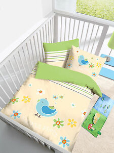 baby bettw sche 100x135 cm kleiner spatz vogel natur gr n biber b ware. Black Bedroom Furniture Sets. Home Design Ideas