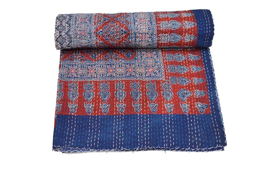 Indian Indian Indian Kantha Quilt Ajrakh Print Floral Patchwork Bedspread Blanket Queen Throw 55287b