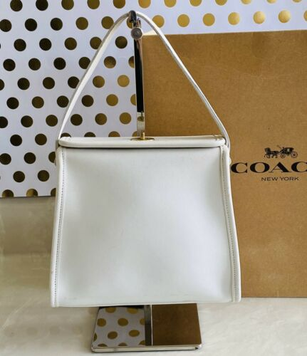 COACH VINTAGE GEOMETRIC WHITE LEATHER SATCHEL BAG