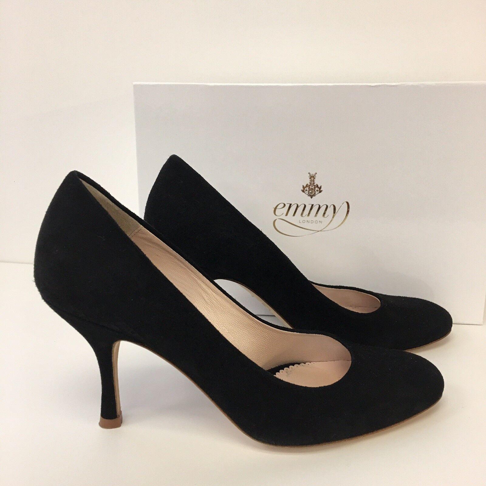 Emmy London Poppy Jet Black Suede Suede Suede Court shoes, US 9, EU 39, UK 6 9598fa
