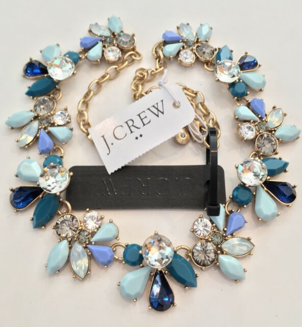 J Crew FACTORY CRYSTAL WAVES STATEMENT NECKLACE! Sold Out! New$56.50 SOFT AQUA