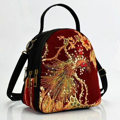 Women Messenger Bags National Peacock Sequin Embroidered Mini Canvas Totes Purse