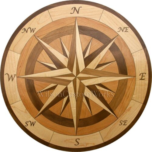 "24/"" Assembled Wood Floor Medallion Inlay 100 Piece Compass Flooring Table Box"