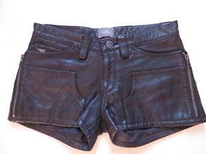 Levi-039-s-Leder-Hotpants-Gr-34-XS-W-27-schwarz-Shorts-kurze-Lederhose-RAR