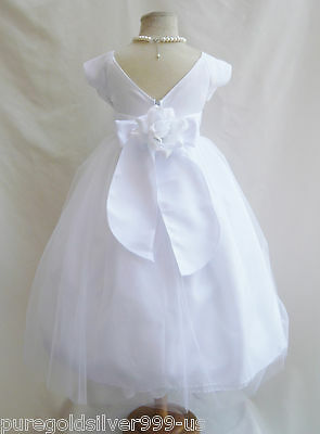White first communion pageant party wedding flower girl dress size 2 4 6 8 10 12