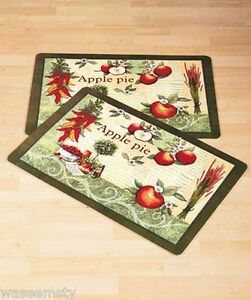 mesmerizing apple kitchen wall decor | One Accent Apple Pie Cushion Foam Comfort Mats Kitchen Rug ...