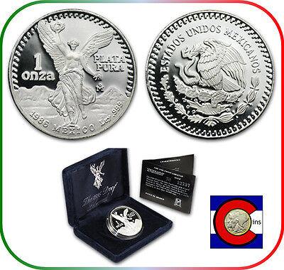 1986 1 oz Silver Mexico Libertad Proof w//Box /& CoA