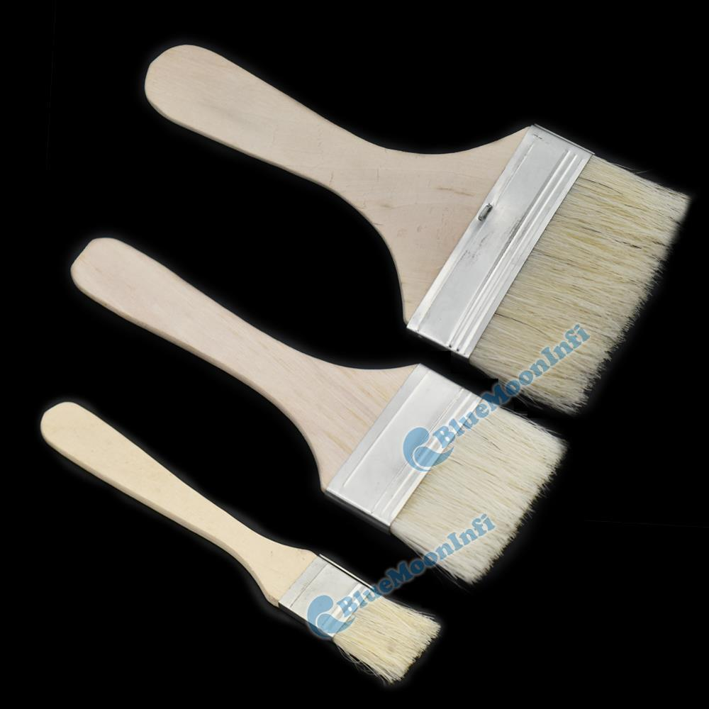 25 50 75mm Wooden Handle Brushes Bristles Adhesives Paint Touchup Brush Supply Y