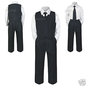 New-Baby-Toddler-Boy-Wedding-Easter-Formal-Party-Vest-Suit-BLACK-S-M-L-XL-6-7