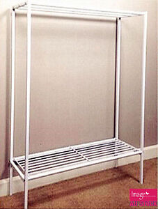 metal rail towel rack white painted shelf free standing. Black Bedroom Furniture Sets. Home Design Ideas