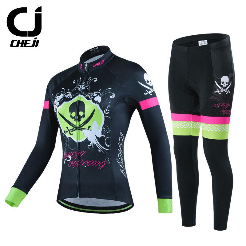 CHEJI Thermal Winter Cycling Jersey Pants Set Womens Fleece Cycling Clothing Kit
