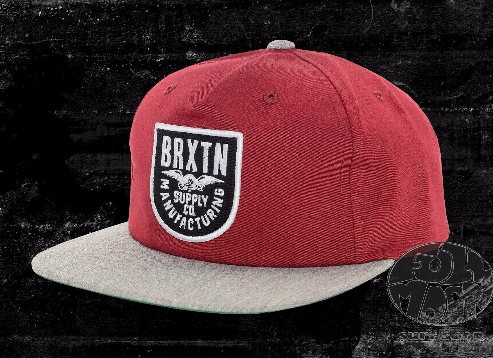 New Brixton Alliance Heather Burgundy & Heather Alliance Grey Mens Snapback Cap Hat d1b11a