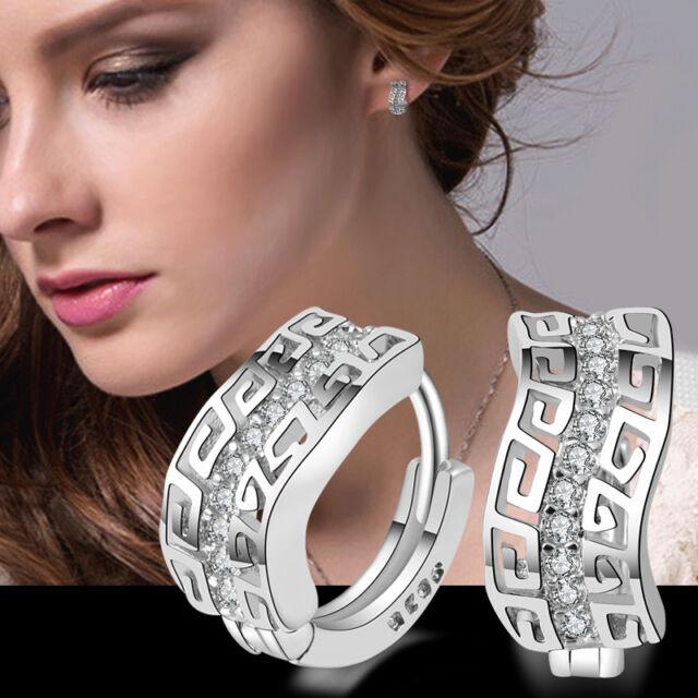 New Fashion Lady Best Silver Plated Crystal Rhinestone Ear Stud Dangle Earrings