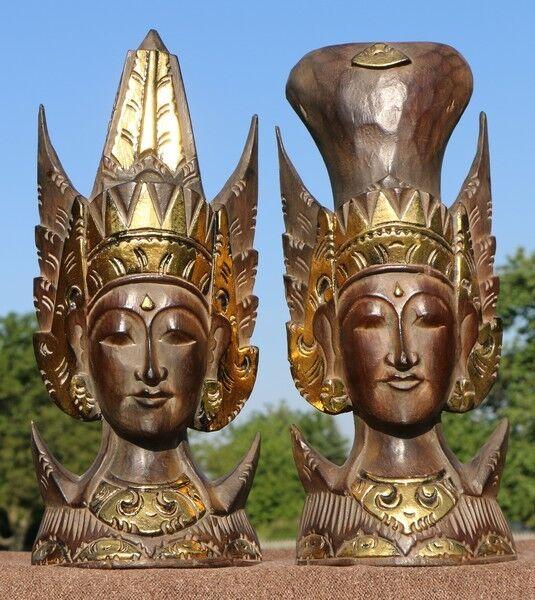 Edles Rama Sita Paar Stand Masken Feng Shui Afrika Gold Buddha Maske55