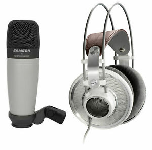 AKG-K701-Open-Back-Studio-Reference-Monitor-Headphones-Samson-Recording-Mic