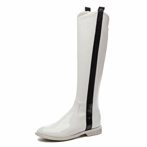 Details about  /Women Ladies Fashion Patent Leather Zippers Knee High Riding Boots Shoes SMGG