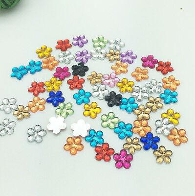 New Diy 100pcs 10MM Mixed Flower Flatback Resin Scrapbooking for Phone/Craft