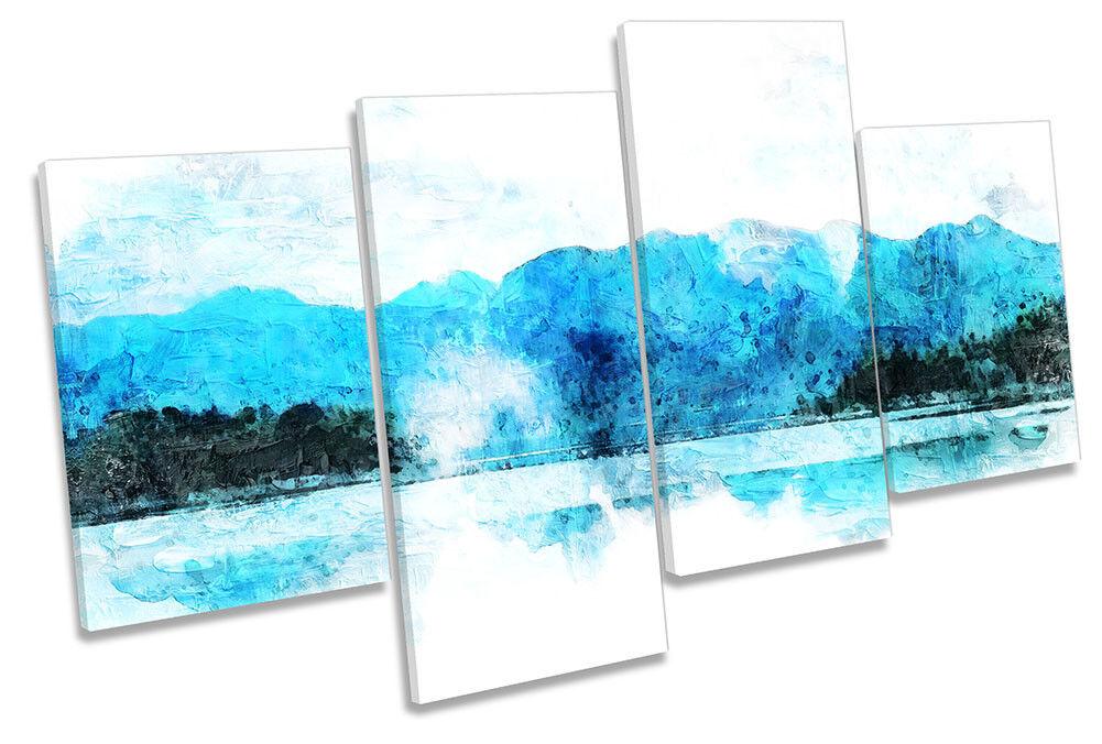 Blau Mountains Landscape Weiß MULTI CANVAS WALL ARTWORK Print Art