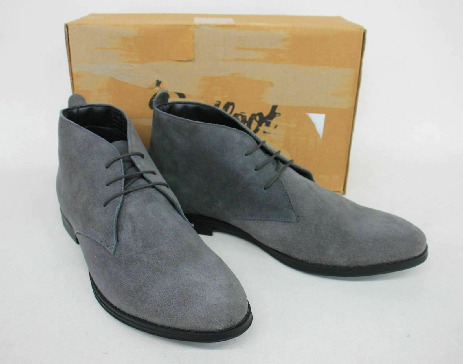 REDFOOT Men's Grey Suede Lace-Up Almond Toe Desert Ankle Boots UK11 EUR45 NEW