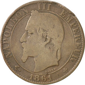 Monnaies-Second-Empire-5-Centimes-Napoleon-III-tete-lauree-1861-BB-35425