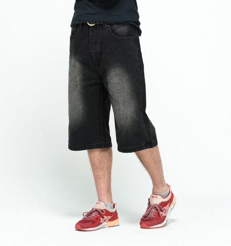 Plus Size Mens Jeans Shorts Hip Hop Stonewashed Distressed Black Big Waist 30-46