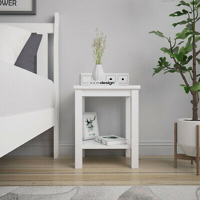 White Bedside Table Chest End Side