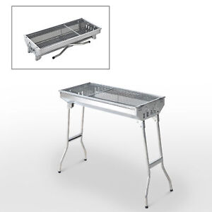 """29"""" Fordable BBQ Charcoal Grill Stainless Steel Backyard Cooker Silver Party"""