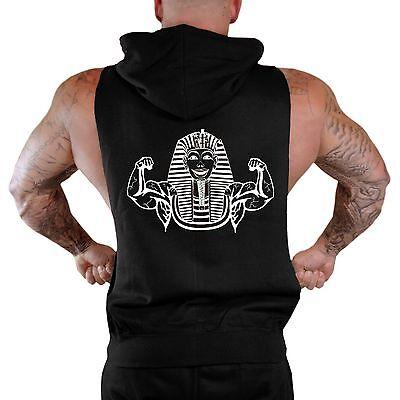 Men/'s Buff Pharaoh Black Sleeveless Zipper Hoodie Workout Flex Fitness Gym Fit