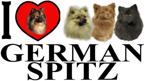 Ft the German Spitz I LOVE GERMAN SPITZ Dog Car Sticker By Starprint