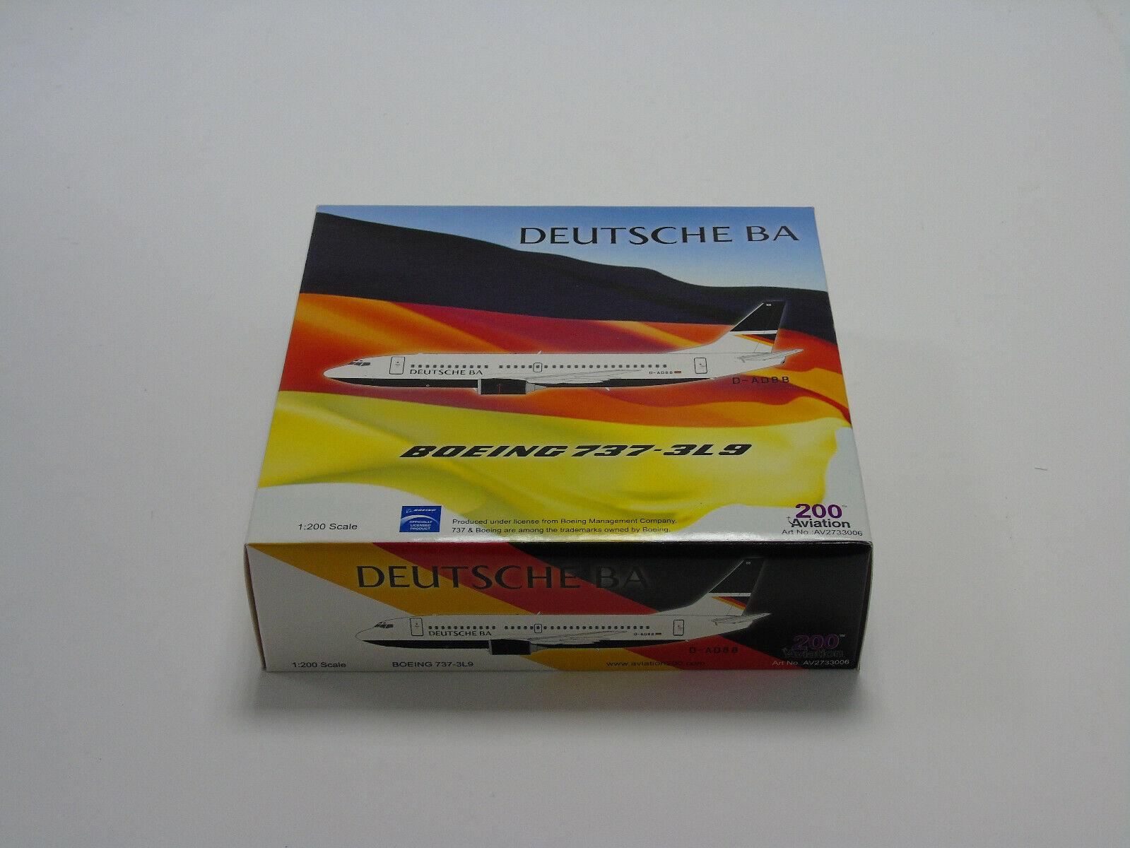 AV2733006 200 Aviation Boeing 737-3L9 Deutsche BA échelle 1 200 NEW & BOXED