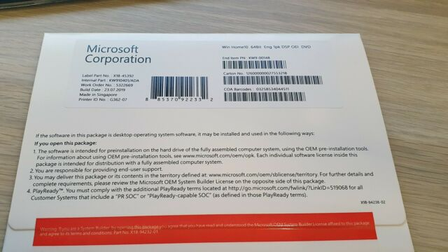 Microsoft Windows 10 Home 64bit Software OEM Package with DVD and COA