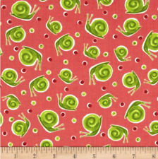 Snails Zola Dots Dark Coral Red 100/% Cotton fabric by the yard